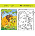 coloring and color lion vector image vector image