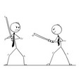 conceptual cartoon two businessmen arguing and vector image