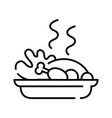 cooked turkey line icon concept sign outline vector image vector image