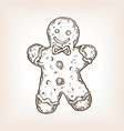 cookie man engraving vector image vector image