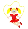 Cute Happy Little Girl with Jumping Rope vector image vector image