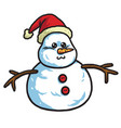 cute snowman wearing santa hat cartoon vector image