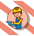 delivery man portrait cartoon holds clipboard vector image