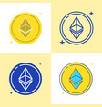 ethereum coin icon set in flat and line style vector image vector image