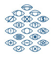 eye icons for different actions set of outline vector image vector image