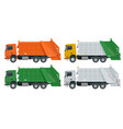 flat garbage truck garbage recycling and vector image vector image