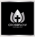 flower cross logo - church vector image vector image