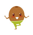 funny kiwi doing yoga exercise sportive fruit vector image vector image