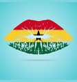 ghana flag lipstick on the lips isolated on a vector image vector image