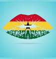 ghana flag lipstick on the lips isolated on a vector image