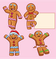 ginger bread character set vector image