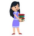 girl holding books on white background vector image
