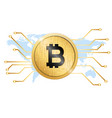 golden bitcoin conceptual background map im vector image