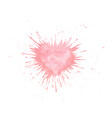 hand painted watercolor heart splash texture vector image vector image