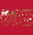 happy chinese new year 2019 seamless pattern with vector image vector image