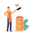 happy young man in apron frying pancakes on pan vector image