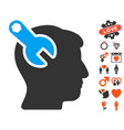 head neurology wrench icon with lovely bonus vector image vector image