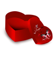 heart shape present opened box vector image vector image