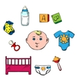 Little boy and childish toys icons vector image vector image