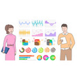 man and woman working in team data analysis set vector image