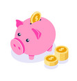 piggy bank 3d in isometric style pink vector image