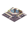 police station with sedan and jeep car parking vector image vector image