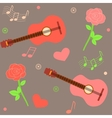 seamless musical pattern with guitars and roses vector image vector image