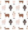 seamless pattern with cute farm animals on white vector image