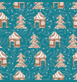 seamless pattern with gingerbread houses vector image vector image