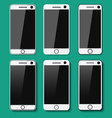 Set of detailed phones with shadows vector image vector image