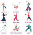 set of fighters engaged in martial arts fighters vector image vector image