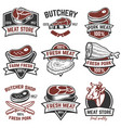 set of meat store labels butchery design elements vector image vector image