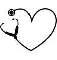 simple heart stethoscope icon linear thin vector image