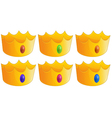 Six golden crowns vector image