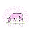 Sketch of ornamental cow for your design vector image