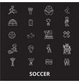 soccer editable line icons set on black vector image
