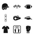 sport headwear icons set simple style vector image vector image