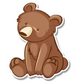 sticker design with grizzly bear in sitting pose vector image vector image