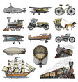 submarine boat and car motorbike horse-drawn vector image vector image