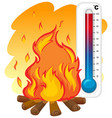 thermometer and fire burning vector image vector image