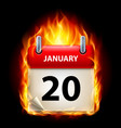 twentieth january in calendar burning icon on vector image vector image