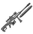 vintage monochrome sniper rifle concept vector image vector image