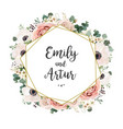 wedding floral invitation elegant invite card vector image vector image