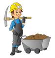 worker holding pickaxe next to wheelbarrow full vector image vector image