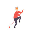 young man dressed as devil guy in bright festival vector image vector image