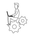 young man working with laptop in gears vector image