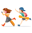 Boy And Girl Running To Travel vector image