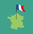 france map and flag french banner and land area vector image