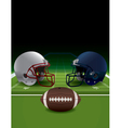American Football Helmets Ball and Field vector image