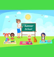 back to school banner with teacher and pupil in vector image vector image